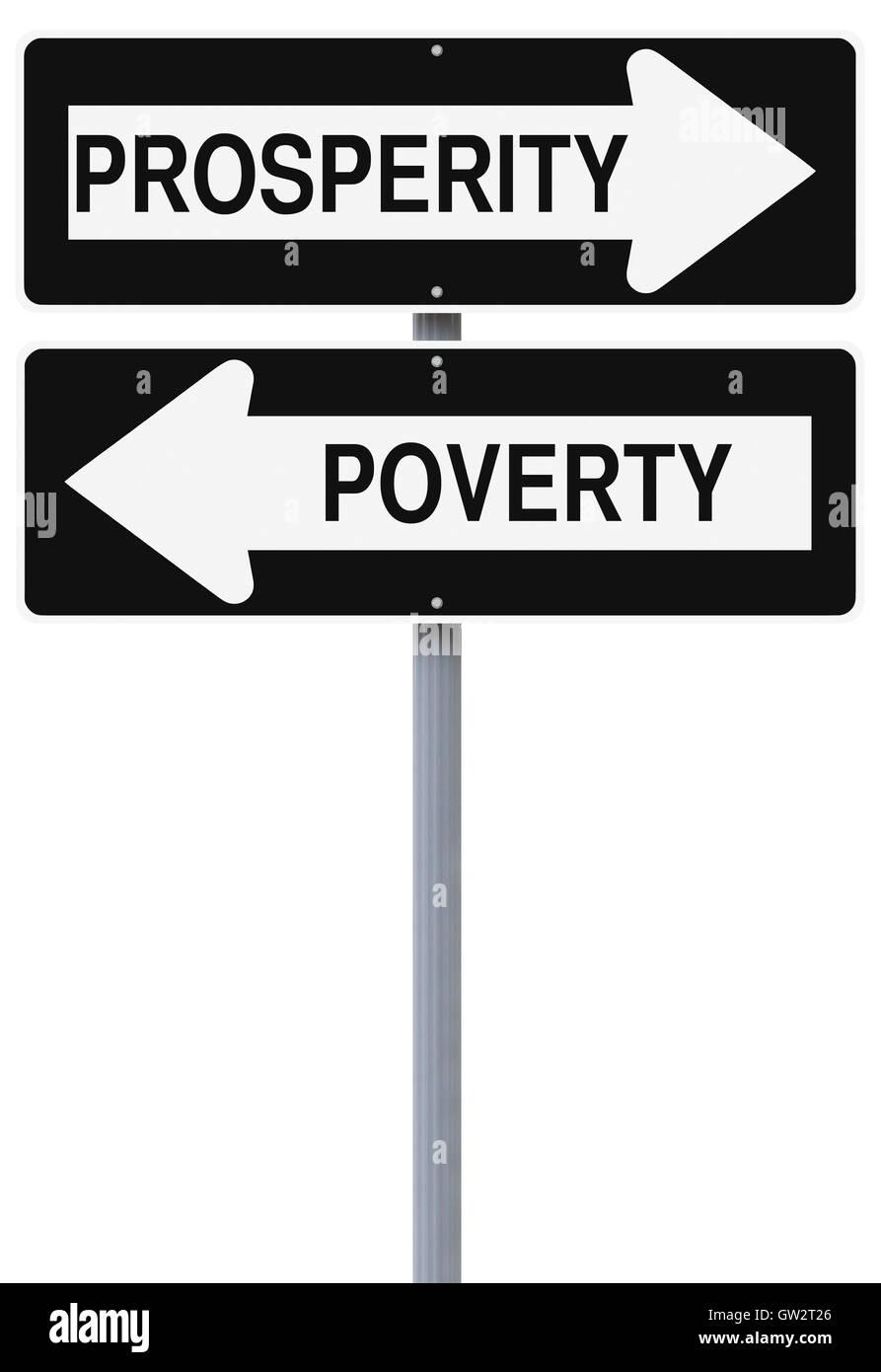 Wohlstand oder Armut Stockbild