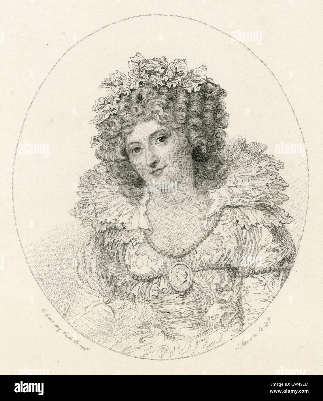Antike 1893 Gravur Mrs Fitzherbert. Maria Anne Fitzherbert (1756-1837) war ein langjähriger Begleiter der zukünftige Stockbild