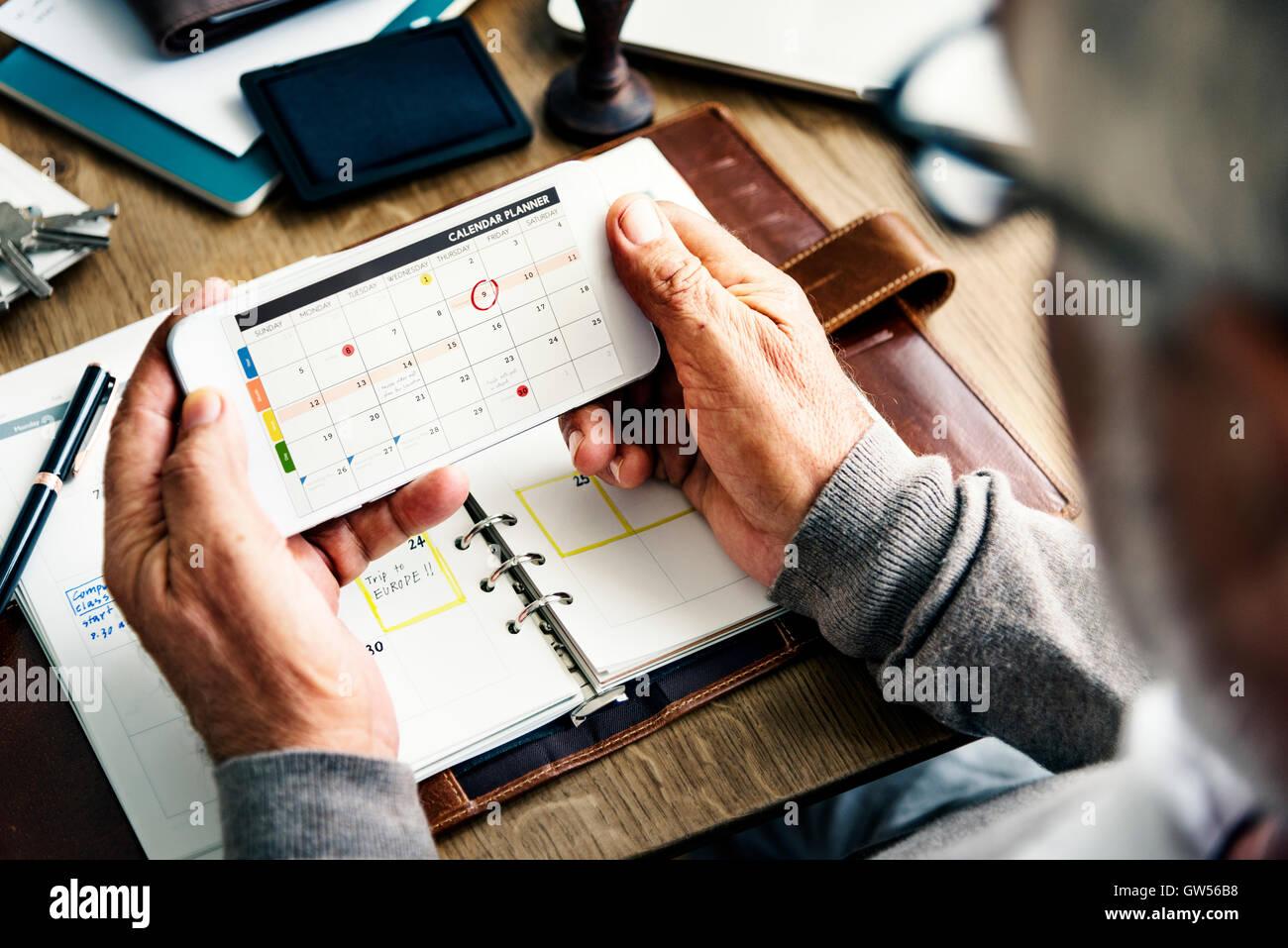 Weekly Planner Tagebuch organisieren Konzept Aufgabenliste Stockfoto