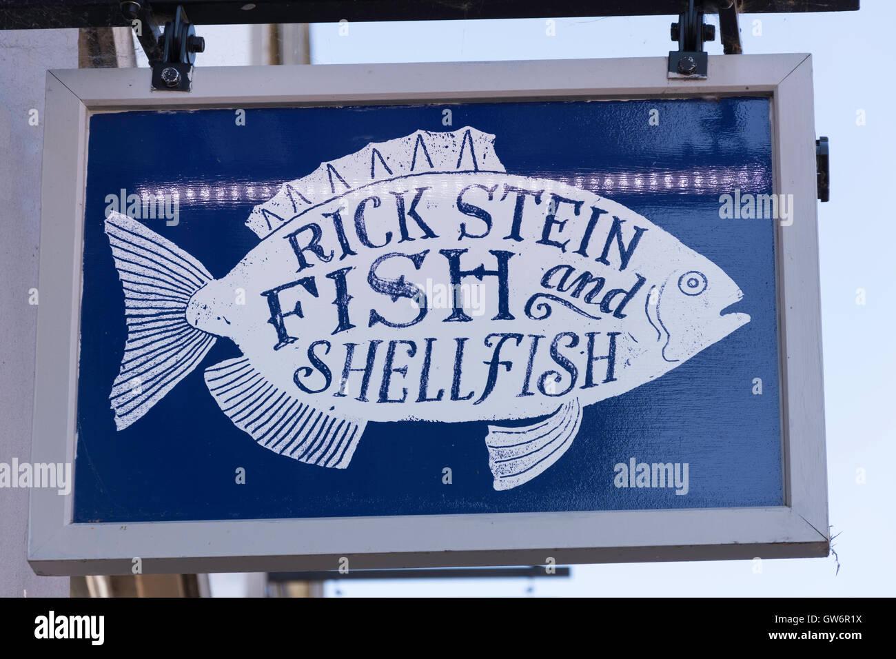 Rick Stein Meeresfrüchte Restaurant Schild, High Street, Winchester, Hampshire, England, Vereinigtes Königreich Stockbild