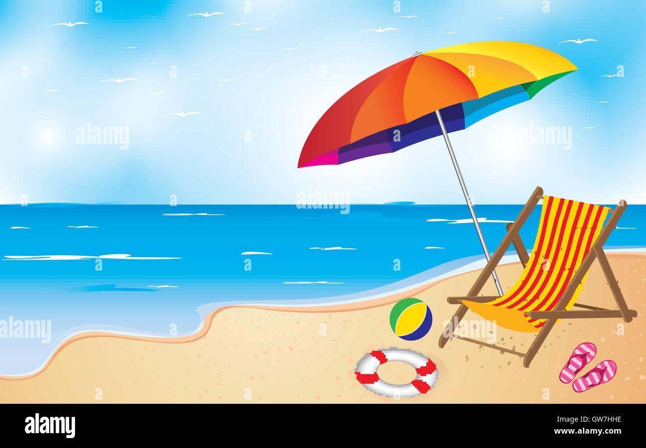 strand stuhl vektor abbildung sommer regenschirm