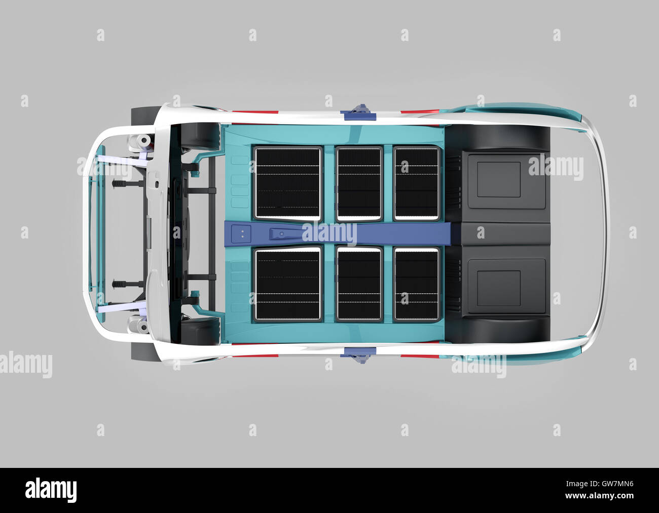 Draufsicht der Auto Körperrahmen isoliert auf grauem Hintergrund. 3D ...