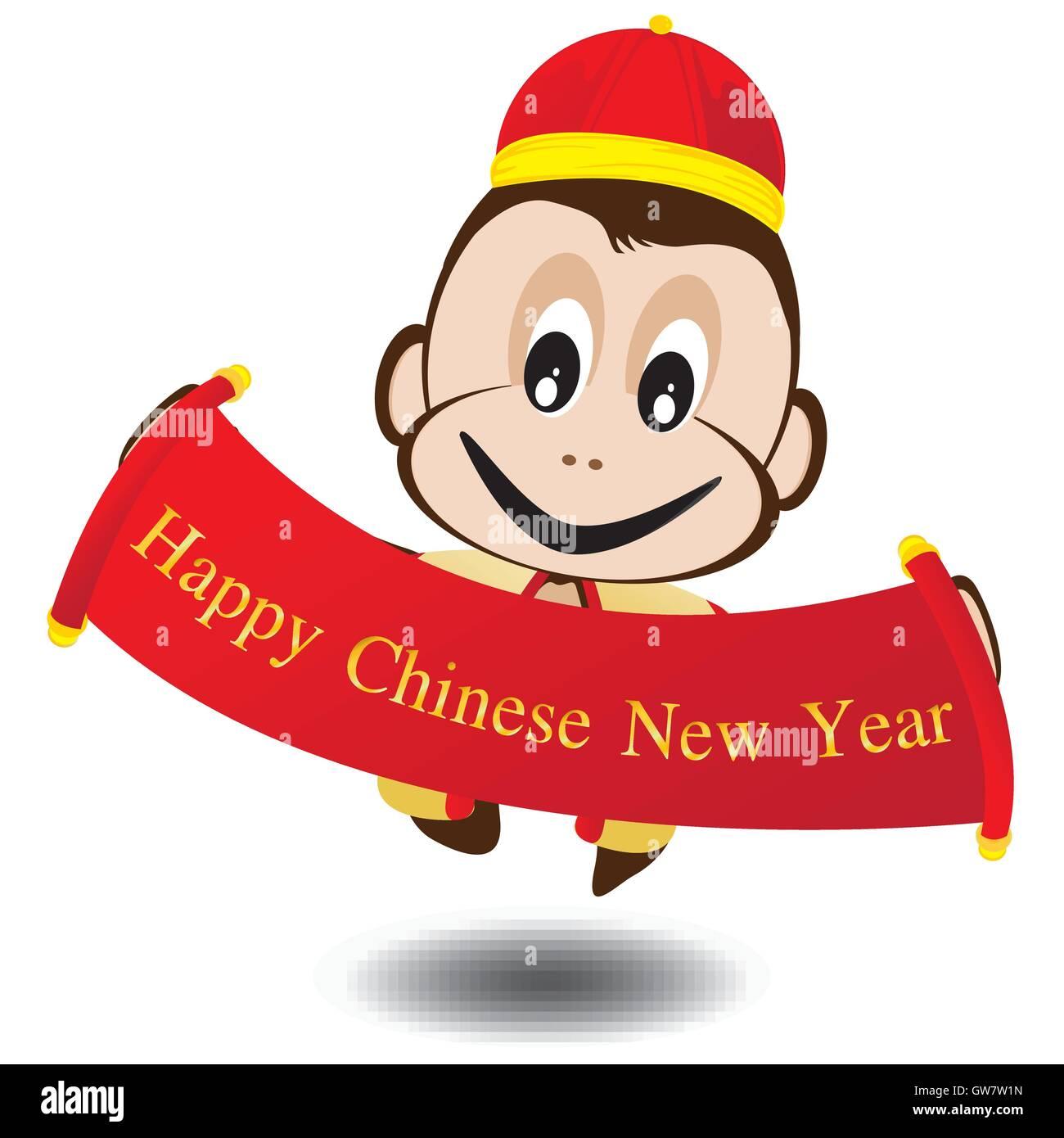 Jahr, neue, chinesische, happy, Vektor, Hintergrund, Affe, Karte ...