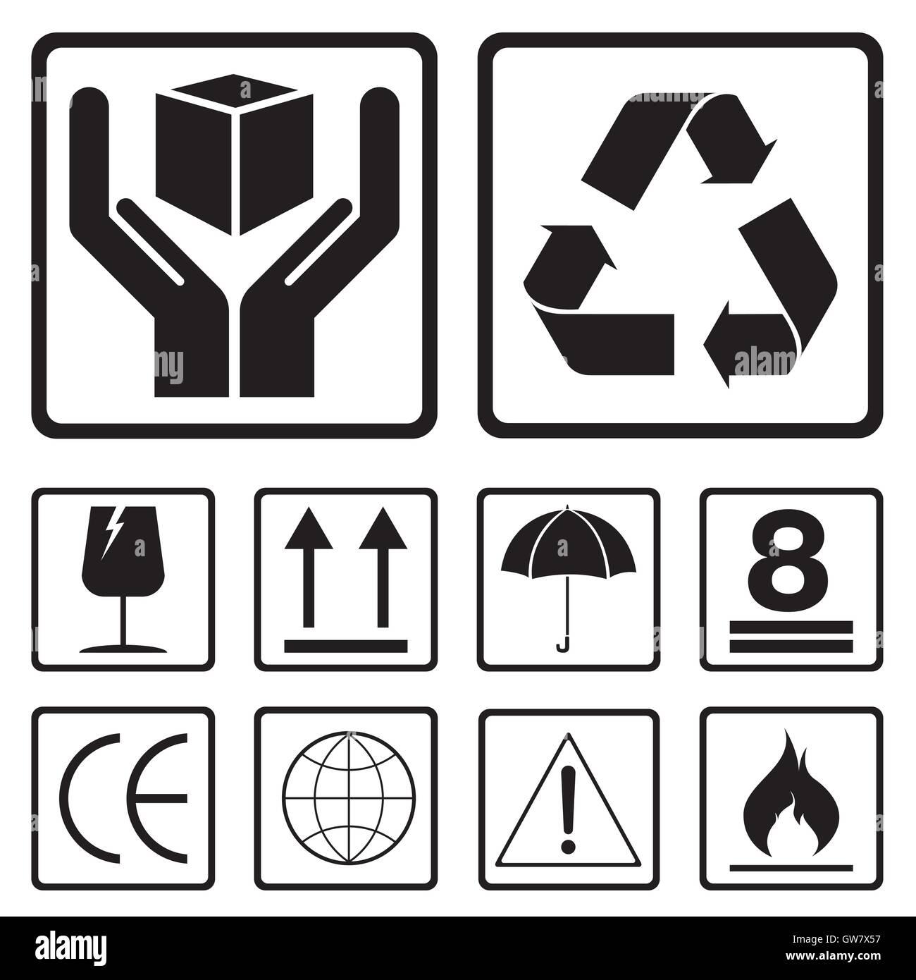 Zerbrechlich Box Symbol Pappe Vektor Symbol Aufkleber