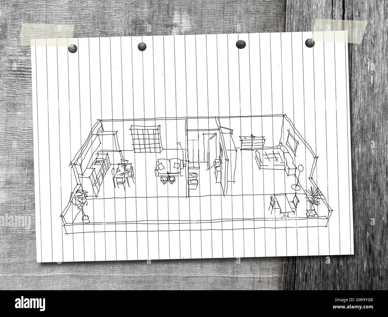 3d innenraum freihand skizze zeichnen m blierten haus wohnung auf wei en gestreiften papier ber. Black Bedroom Furniture Sets. Home Design Ideas