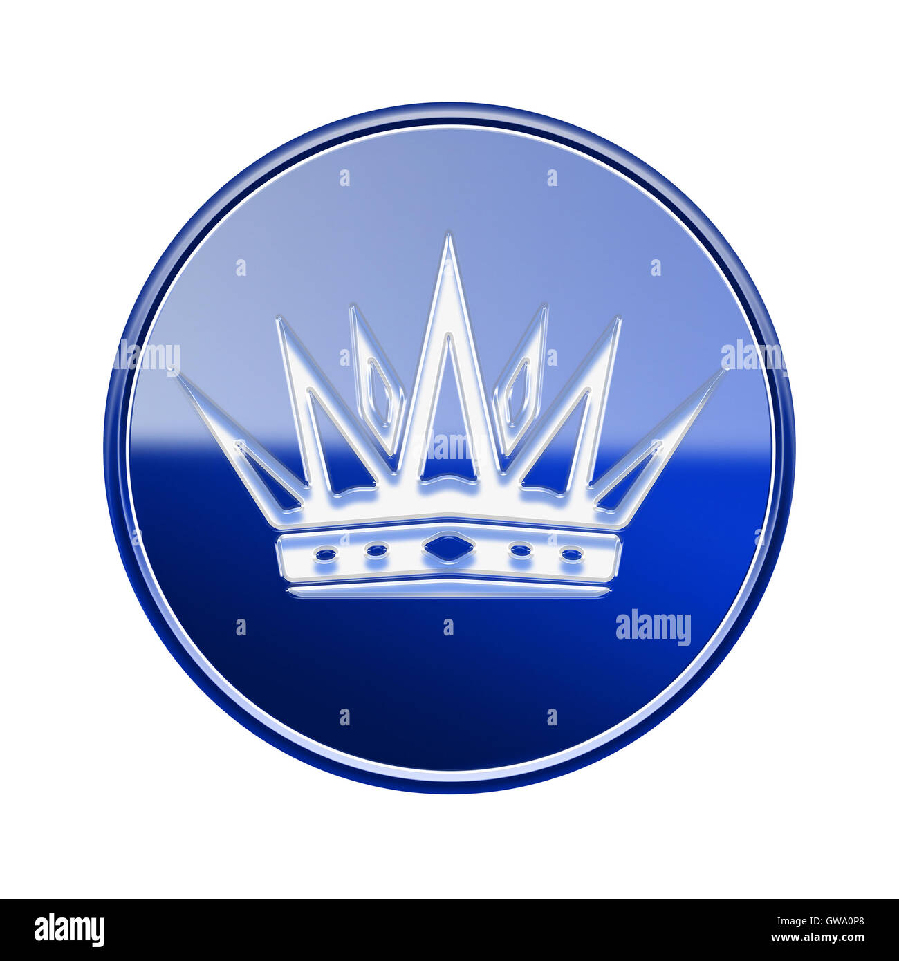 Krone-Symbol glänzend blau, isoliert auf weißem Hintergrund Stockbild
