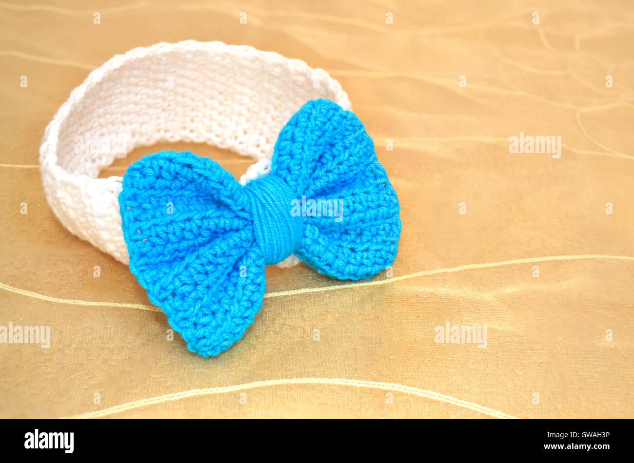 Häkeln Sie Baby Stirnband Mit Blauen Bogen Baby Dusche Vorhanden