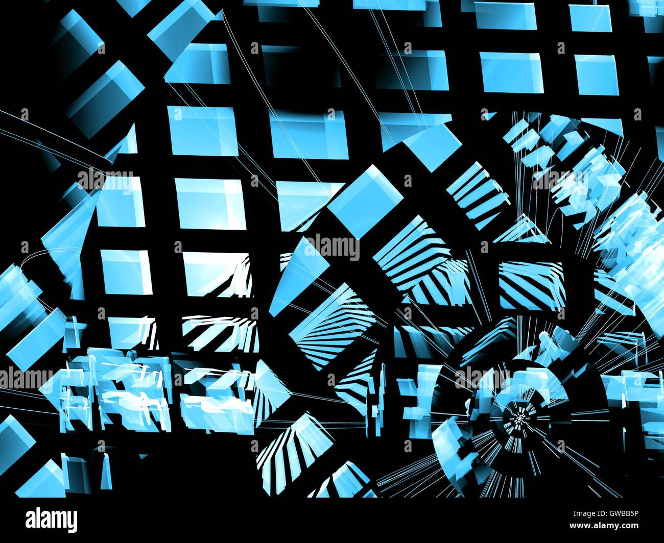 Abstrakte computergenerierte futuristischen blau-weiß kariert Stockbild