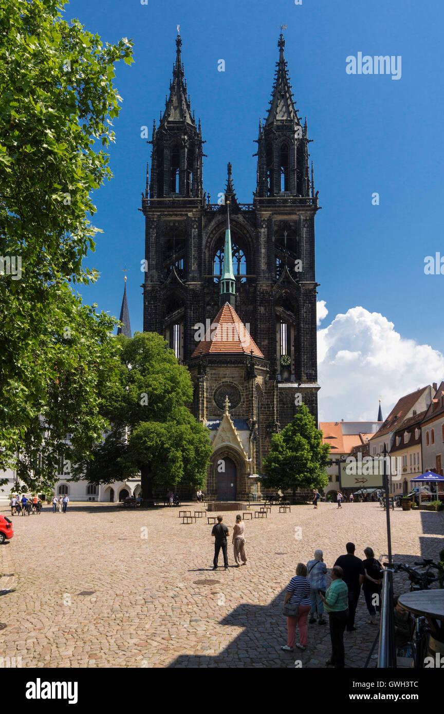 Meißen, Domplatz Mit Dom Stockbild