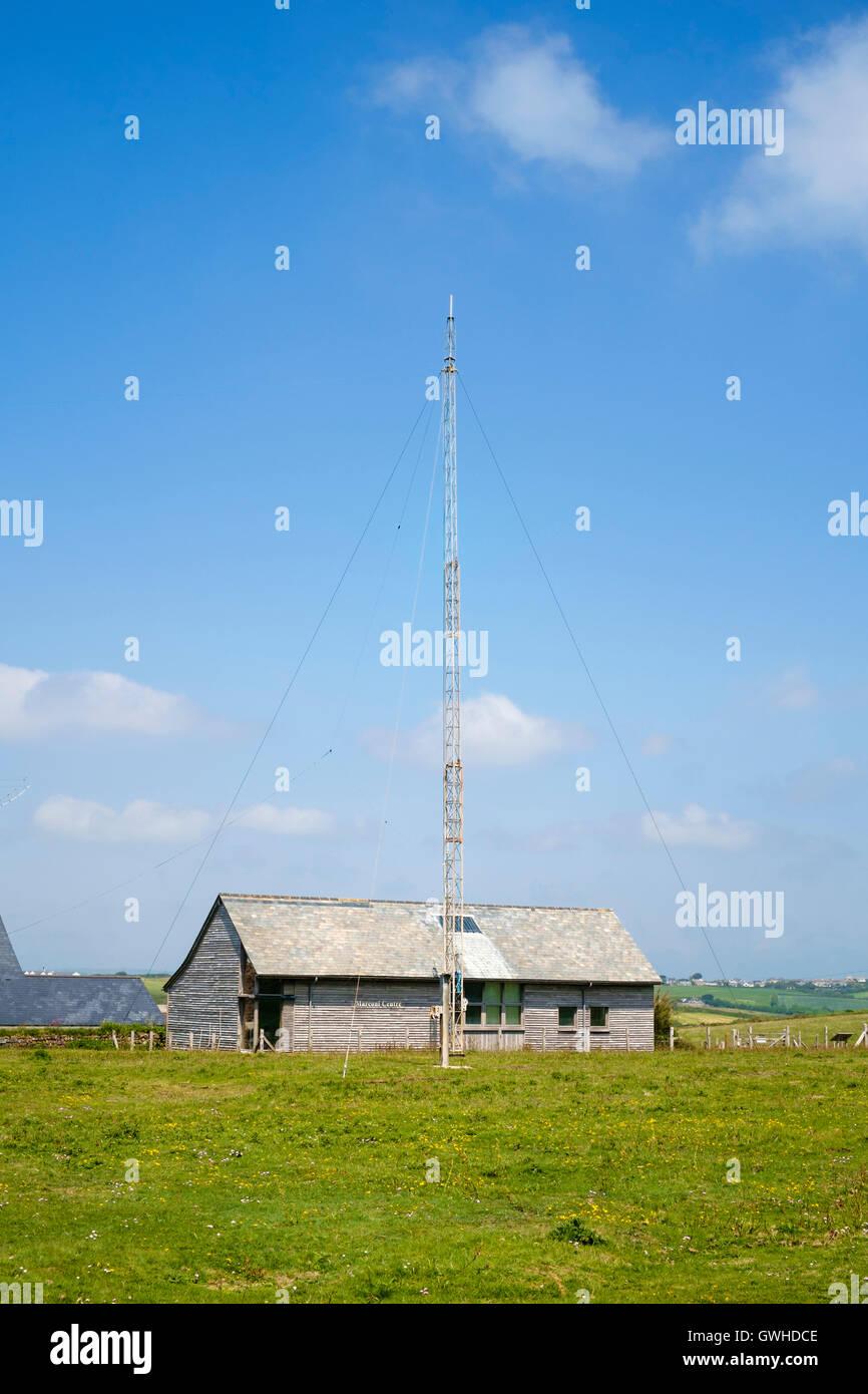 Die Marconi Zentrum und Amateurfunk (Ham) Antennen an Poldhu, Cornwall, England UK Stockbild