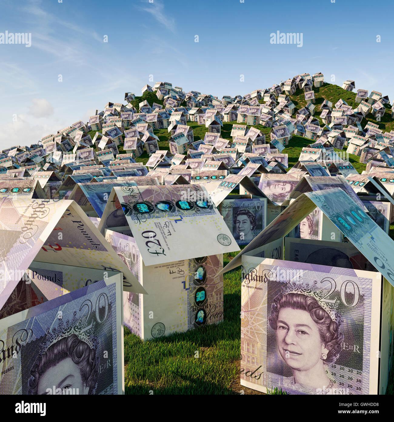 UK Immobilienkrise-Haus Konzept, Haus Preise und Wohnsiedlung Entwicklung Konzept Stockbild