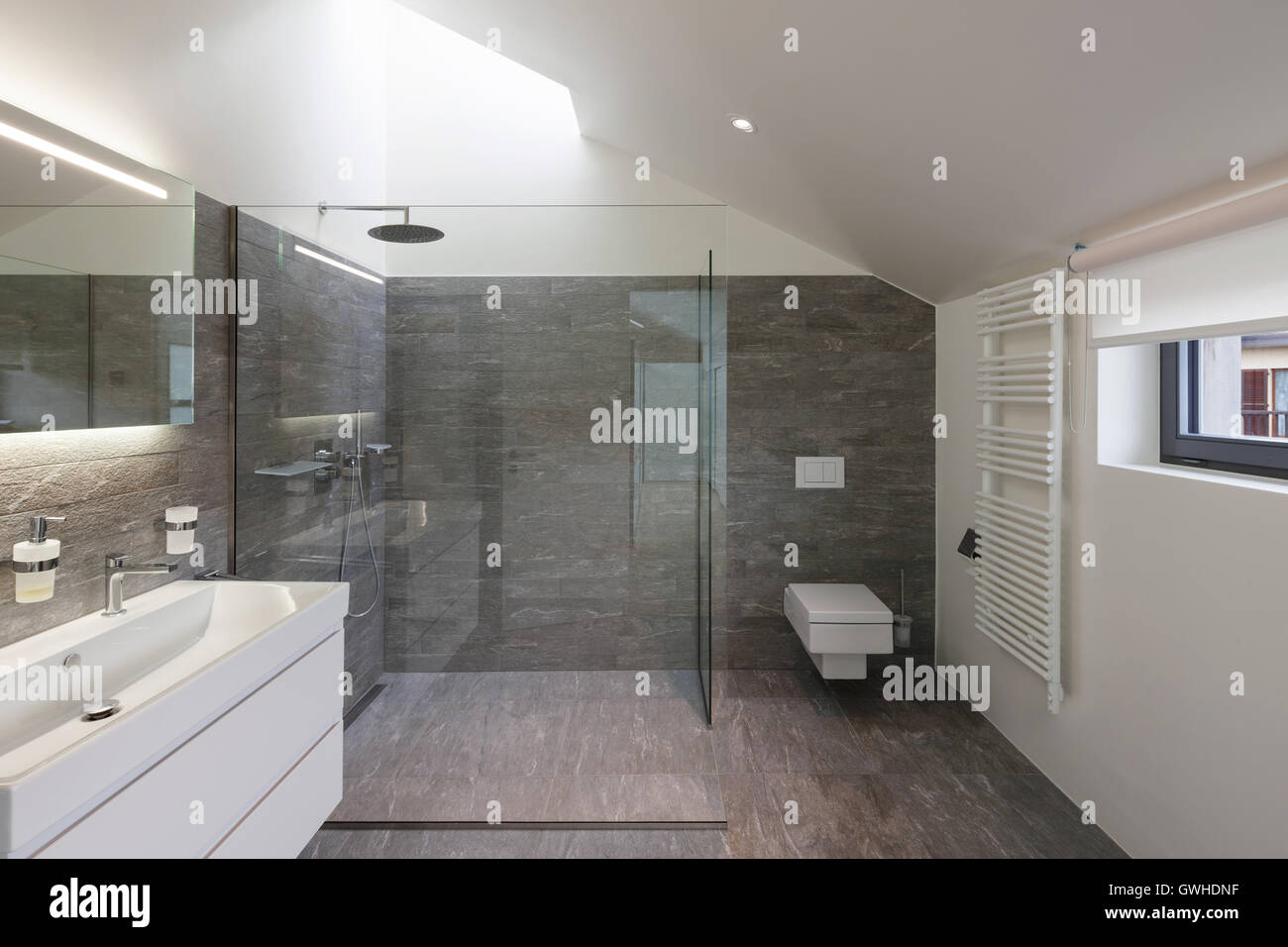 Inneren Des Hauses Um Moderne Badgestaltung Stockfoto Bild