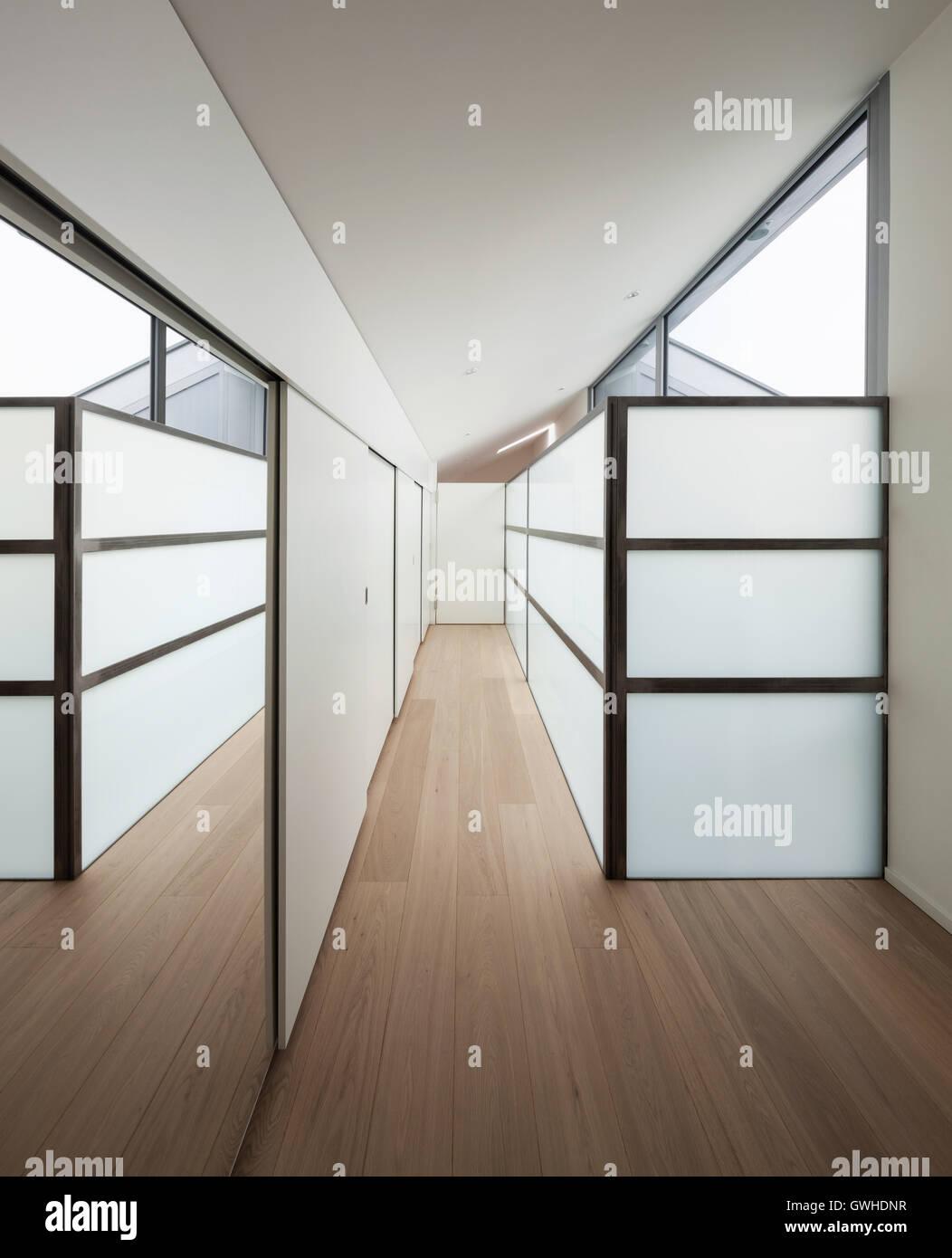 Interieur Eines Modernen Hauses Langen Gang Mit Wandschranke