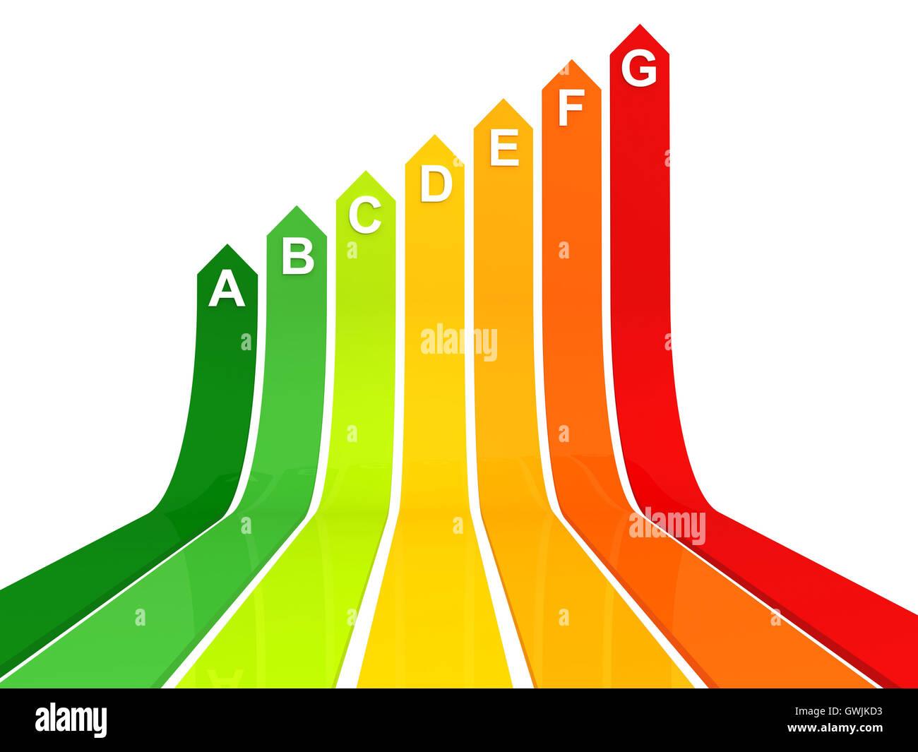 Energie-Effizienz bar Chart Konzept 3d illustration Stockbild