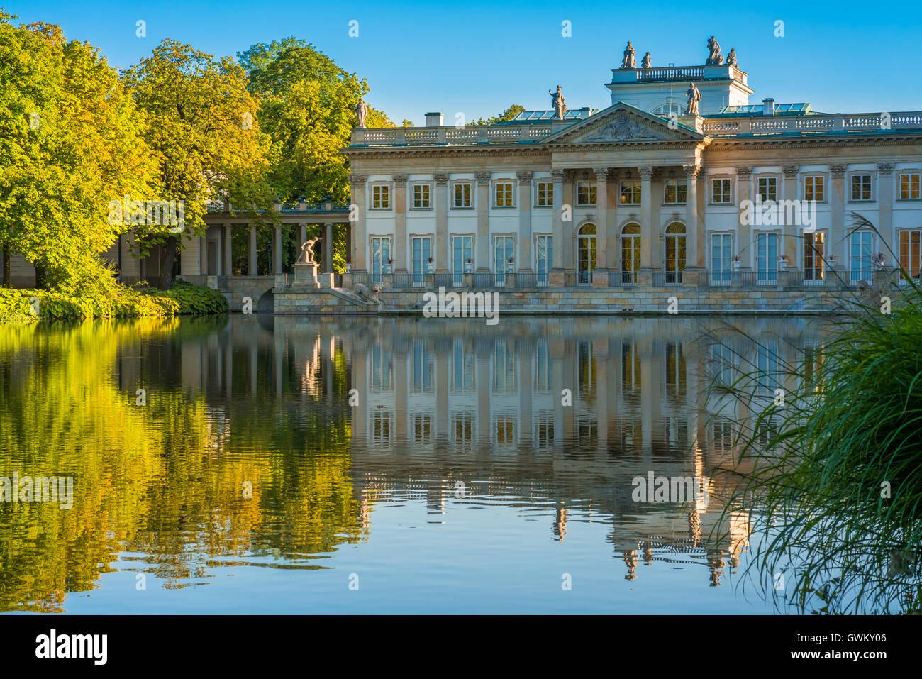 Lazienki Palast Im Lazienki Park Warschau Polen Stockfoto Bild