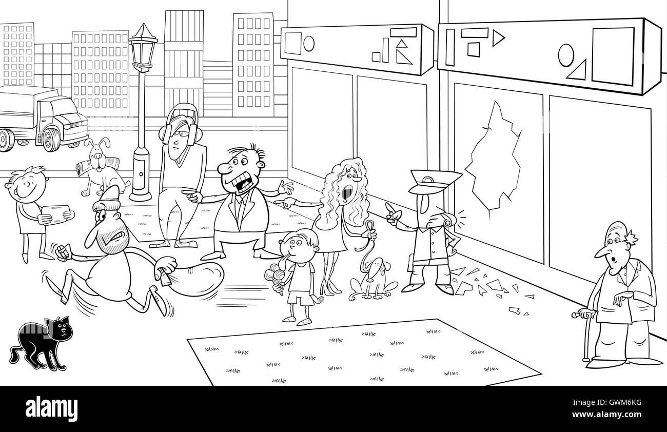 Schwarz / Weiß Cartoon Illustration Straße Situation mit fließendem ...