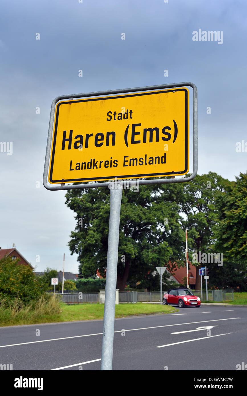 Namensschild zu platzieren: Stadt Haren, Landkreis Emsland, Niedersachsen, Deutschland Stockbild