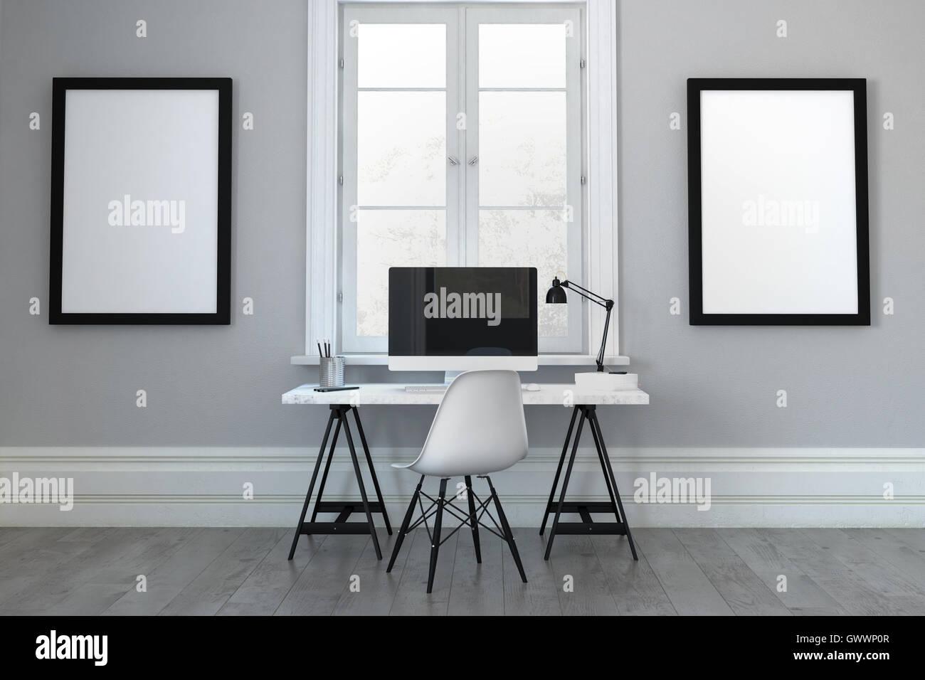 3D Darstellung der einzelnen Schreibtisch mit Stuhl zwischen leere ...