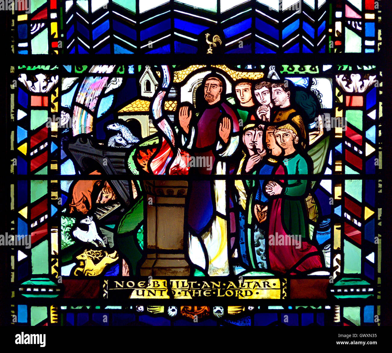 London, England, Vereinigtes Königreich. Kirche St Einkaufsmöglichkeiten, Ely Platz. Glasmalerei-Fenster: Stockbild