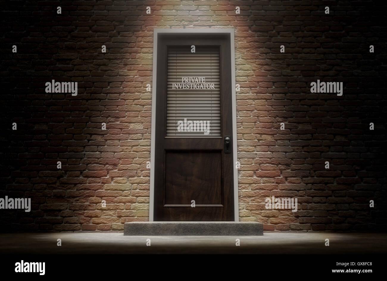 Ein 3D Rendering einer Holztür auf einem Gesicht Backsteingebäude bedeckt von einem geschlossenem Verschluss Stockbild