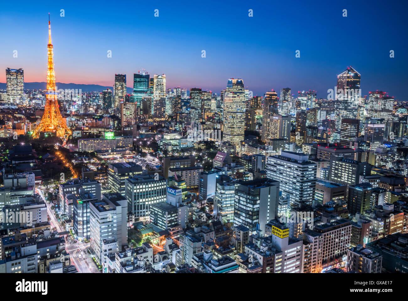 Tokyo Tower-Blick von Minato-Ku, Tokyo, Japan Stockbild