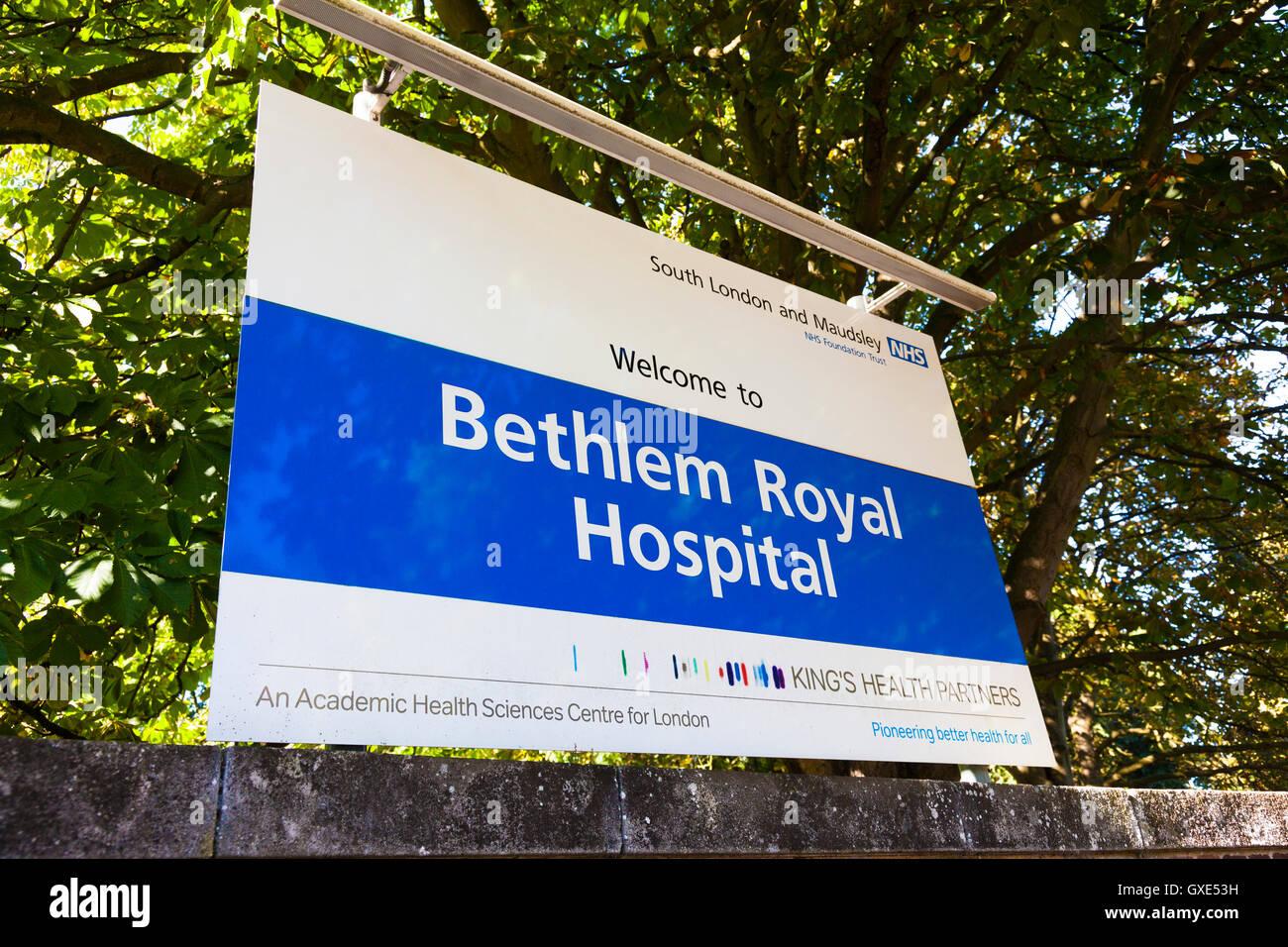 Zeichen, Bethlem Royal psychiatrisches Krankenhaus, London, UK. Bestandteil der Südlondon und Maudsley NHS Stockbild