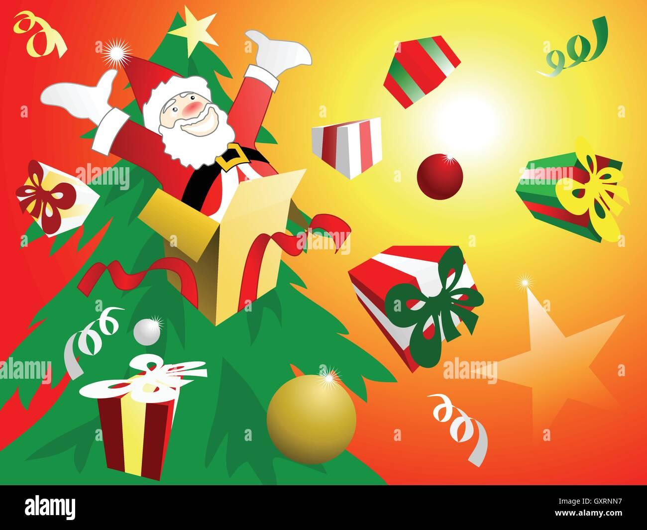 Vektor-Illustration der Weihnachtsfeier. Santa springen out of the ...