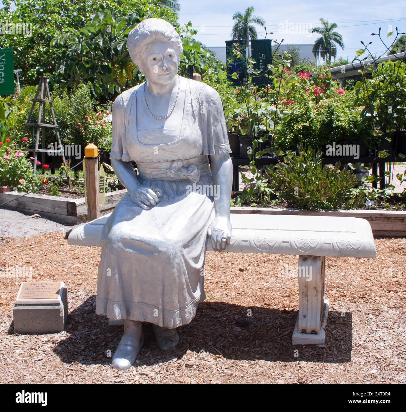 Frau Thomas Edison Statue in Fort Myers Florida Stockbild