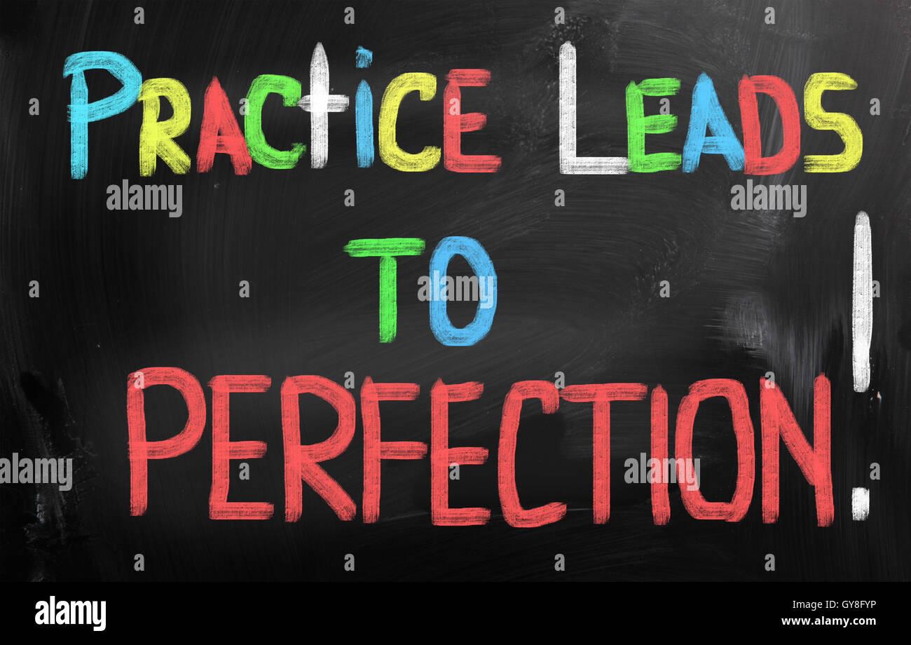 Praxis führt zu Perfektion Konzept Stockbild