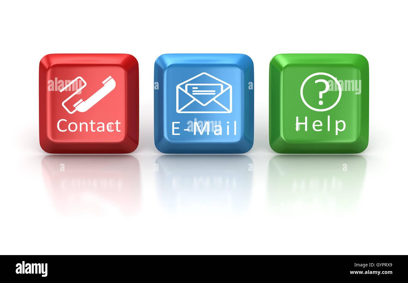 Kontakt, e-Mail- und Hilfe-Tastatur-Taste, dies ist ein 3d Computer generierte Bild. Isoliert auf weiss. Stockbild