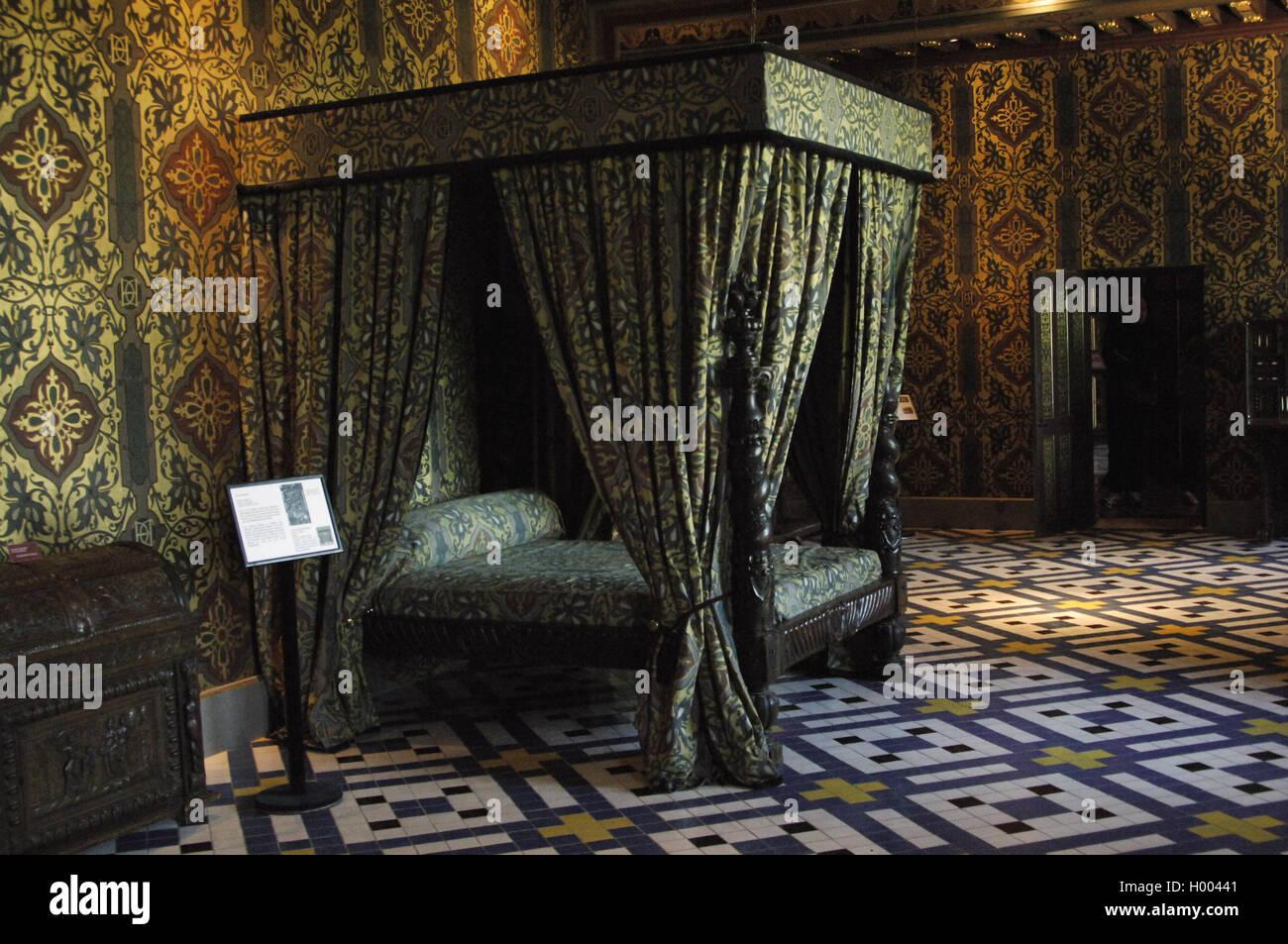 Frankreich. Blois. Königliche Schloss. Schlafzimmer von Catherine de Medici (1519-1589), Königin Gemahlin des France.16th Stockfoto