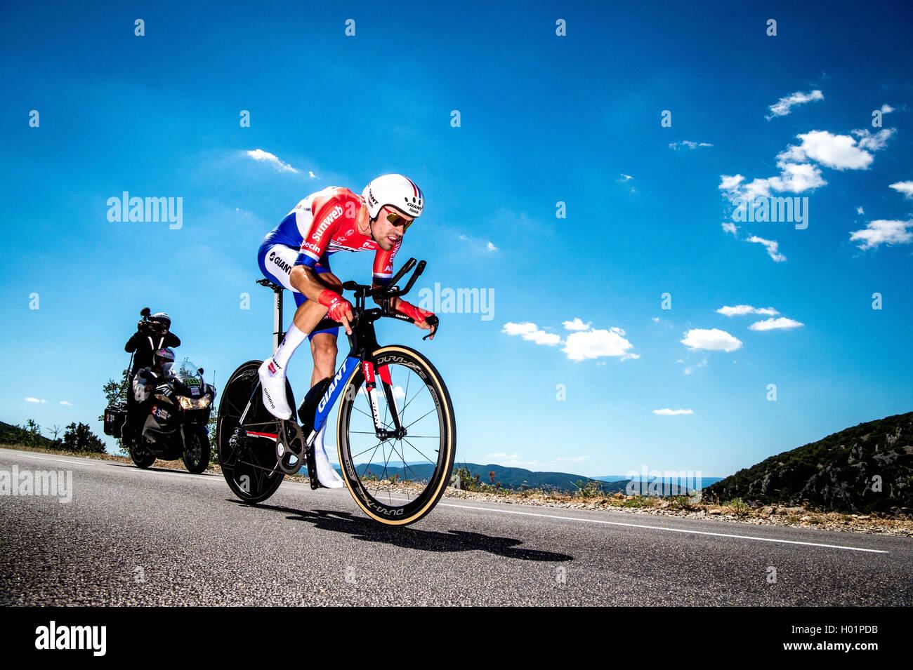 Tour de France 2016 Bühne 13 Tom Dumoulin NED Bourg-Saint-Andeol, La Carerne du Pont-d ' Arc 37,5 km Zeitfahren Stockbild
