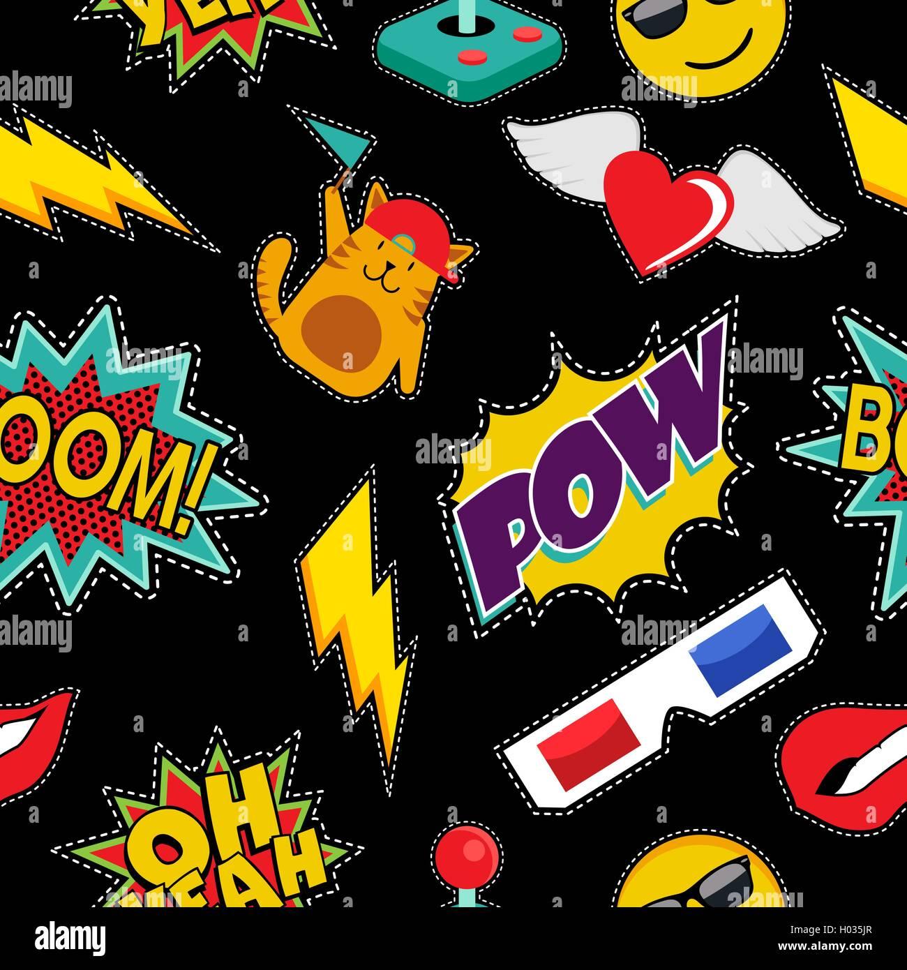 Retro-Cartoon Musterdesign mit Pop-Art-Ikonen im Nähen Aufnäher Stil ...