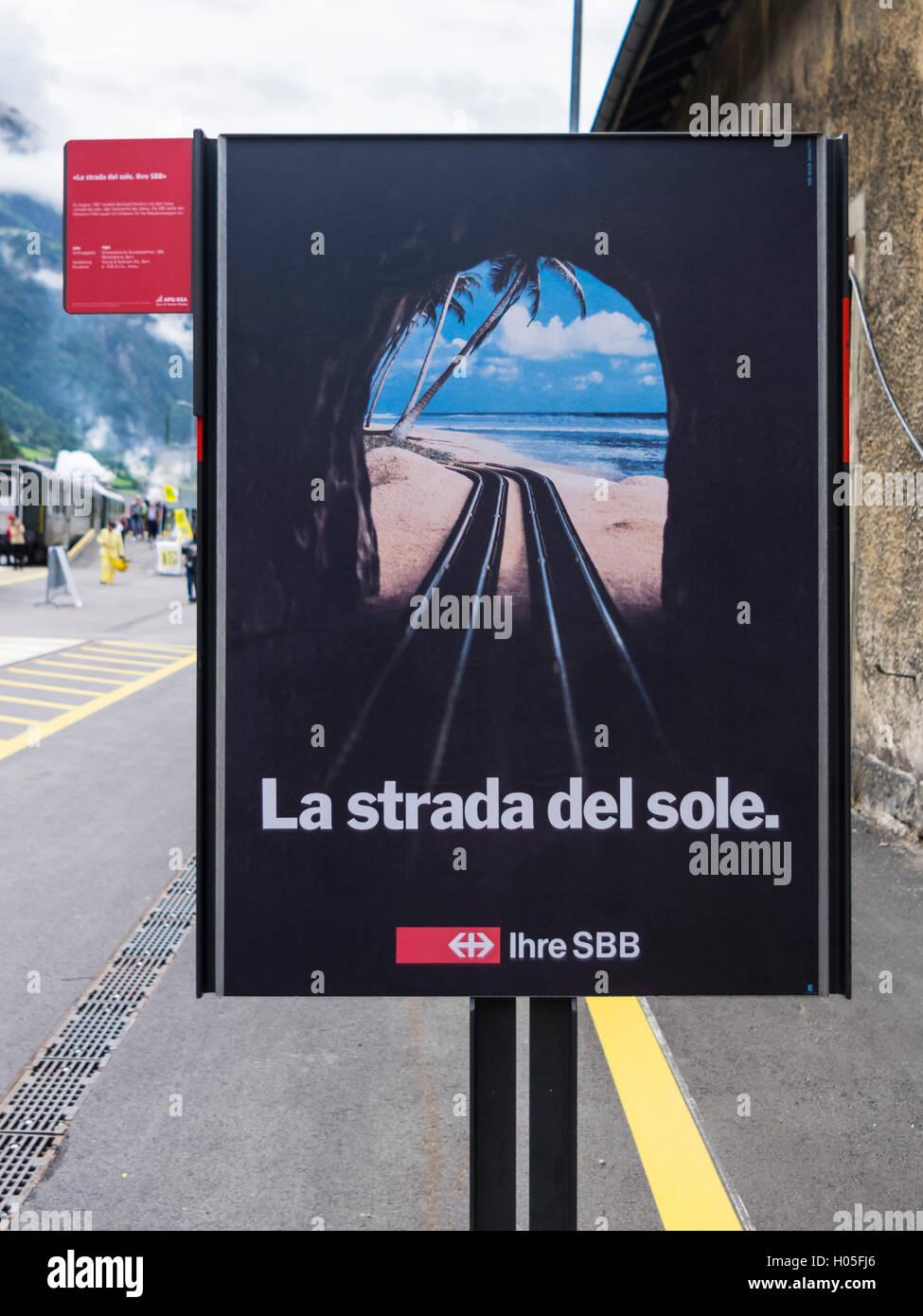 Jahrgang 1981 Werbung des SBB-CFF-FFS, SBB, Förderung des Gotthard-Tunnels. Stockfoto