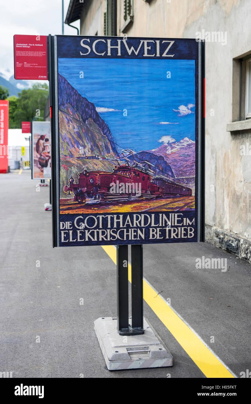 Jahrgang 1924 Werbung der SBB, die Schweizerischen Bundesbahnen, die Elektrifizierung der Gotthardbahn zu fördern. Stockfoto