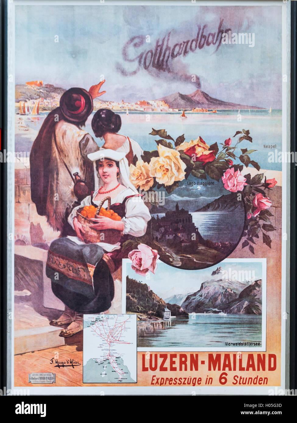 Vintage Werbung der SBB, SBB, Förderung der Gotthardbahn. Stockfoto