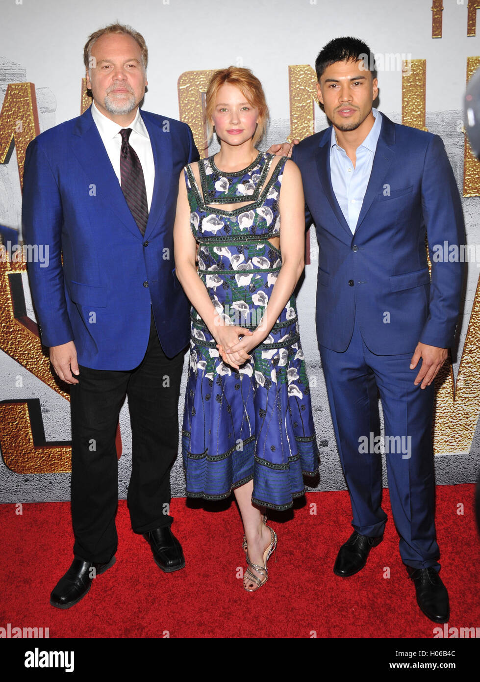 "New York, NY - 19 September: Vincent D'Onofrio, Haley Bennett und Martin Sensmeier besucht die ""The Magnificent Stockfoto"