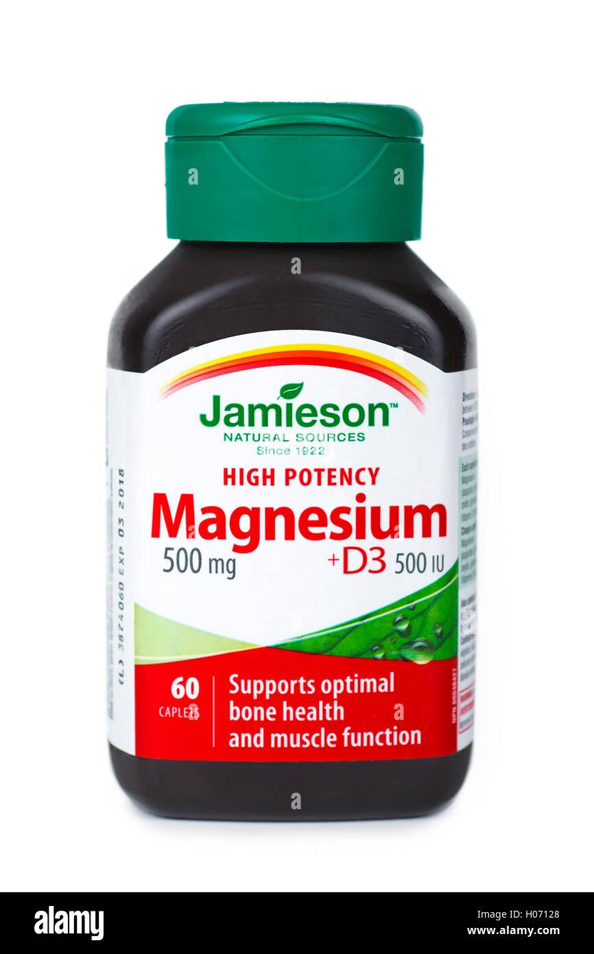 Magnesium-Flasche, Vitamine und Mineralien mit Vitamin-D-D3-Ergänzung Stockbild