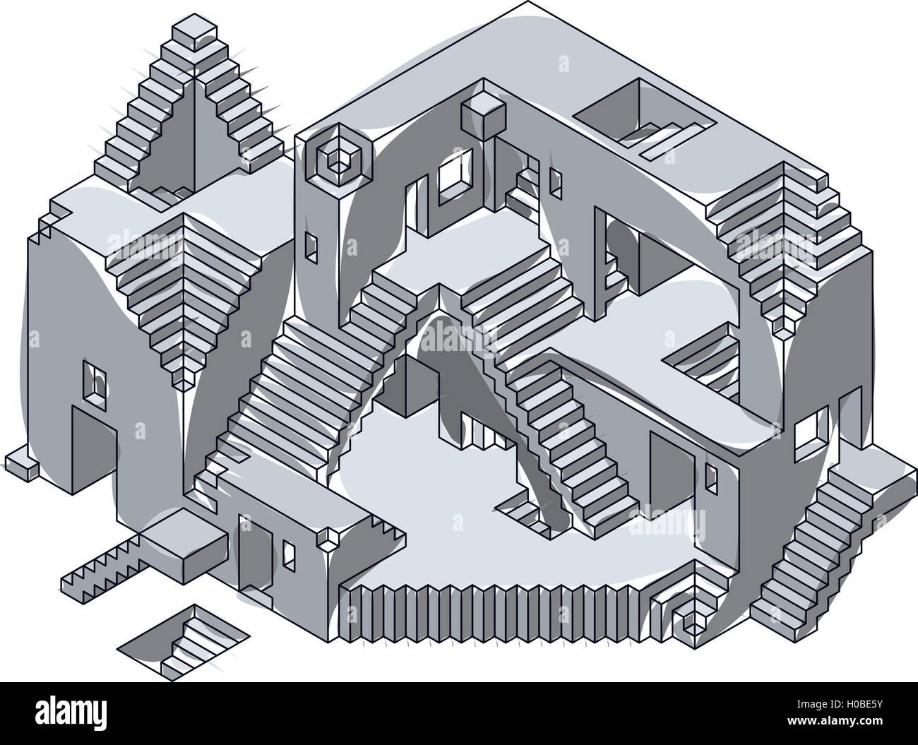 Unter Konstruktion Tinte Abbildung Haus Projekt Gebaude Skizze Plan Zeichnen Burg Bau Architektur
