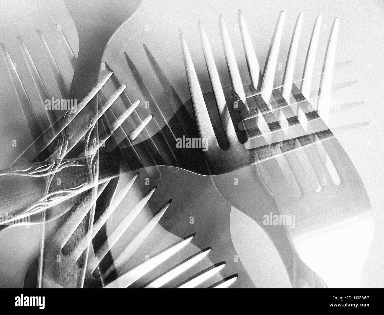 Doppelbelichtung im gleichen Rahmen verschiedene Gabeln Stockfoto ...