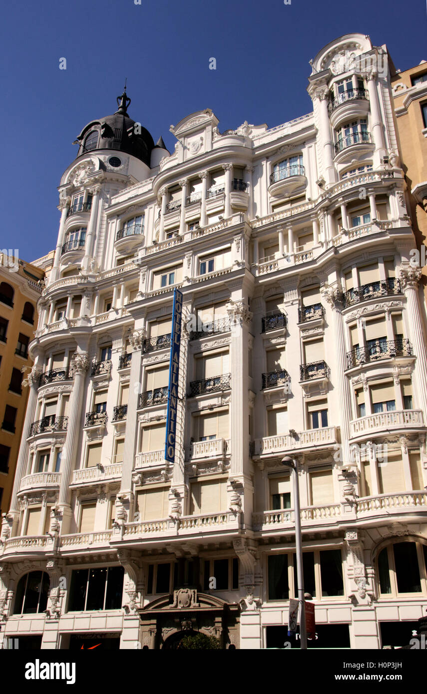 Das Hotel Atlantico Gran Via Madrid Spanien Stockbild