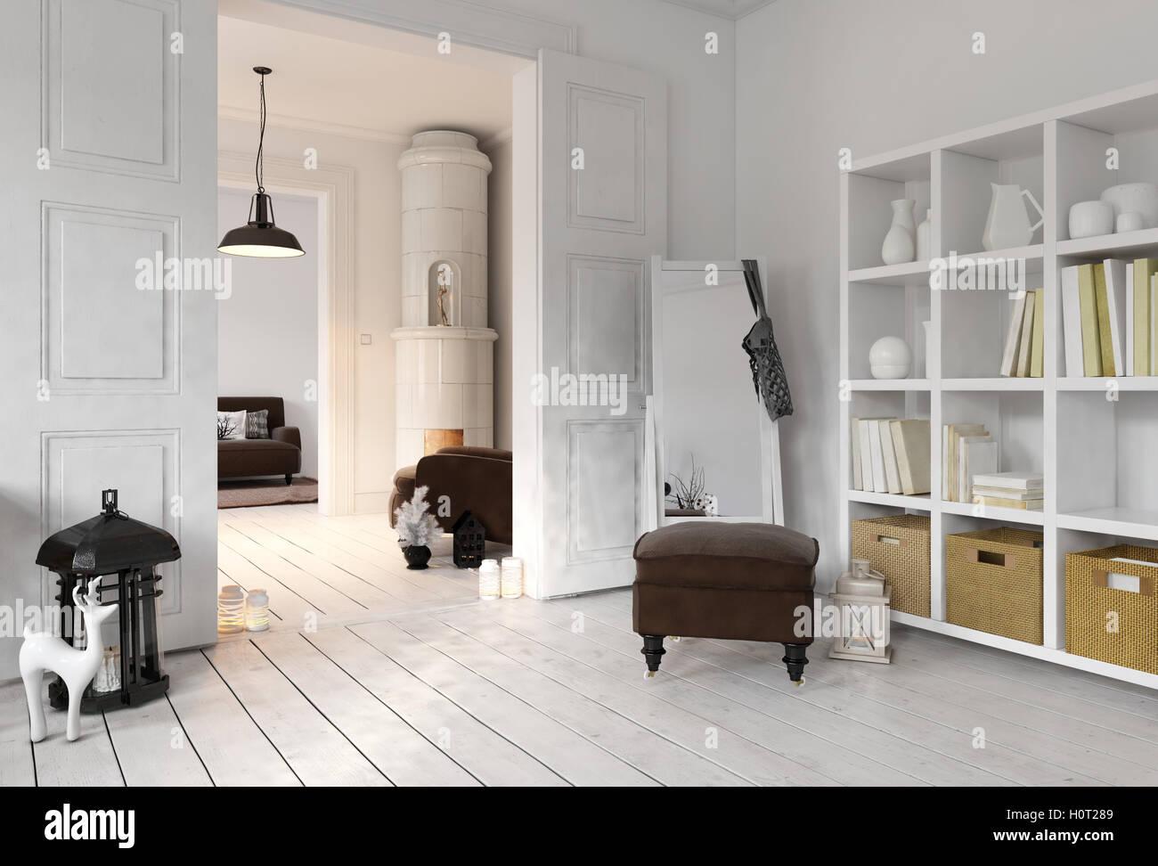 D rendern der wohnung wohnzimmer mit bücherregal boden spiegel