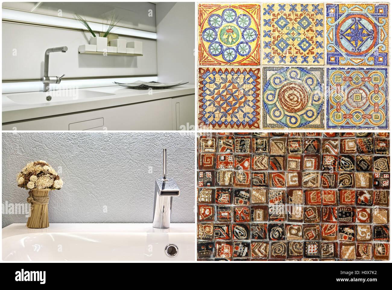 Moderne Waschbecken im Badezimmer und der Küche, Fliesen ...