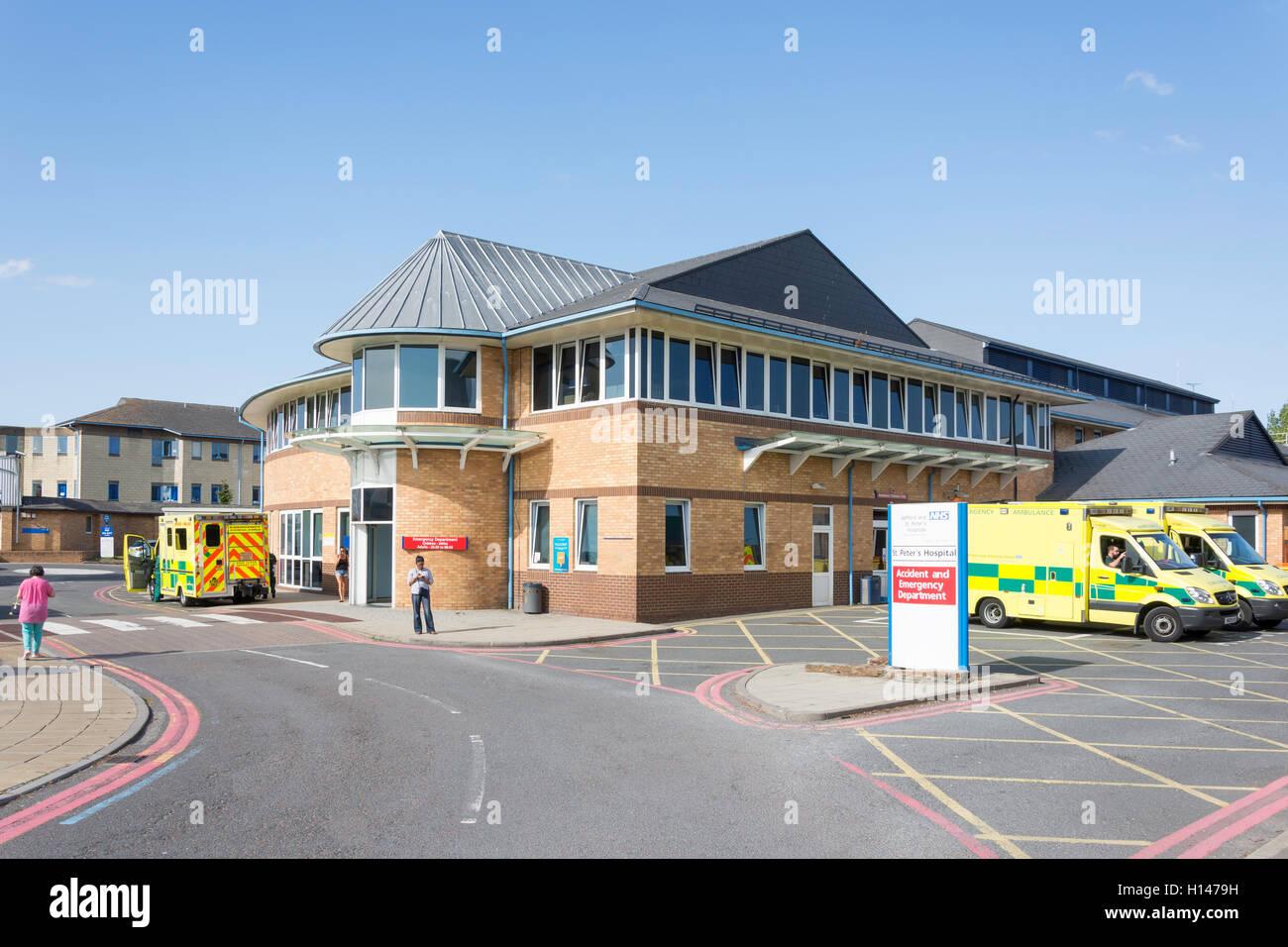 Notfallstation, St Peter's Hospital, Guildford Road, Lyne, Surrey, England, Vereinigtes Königreich Stockbild