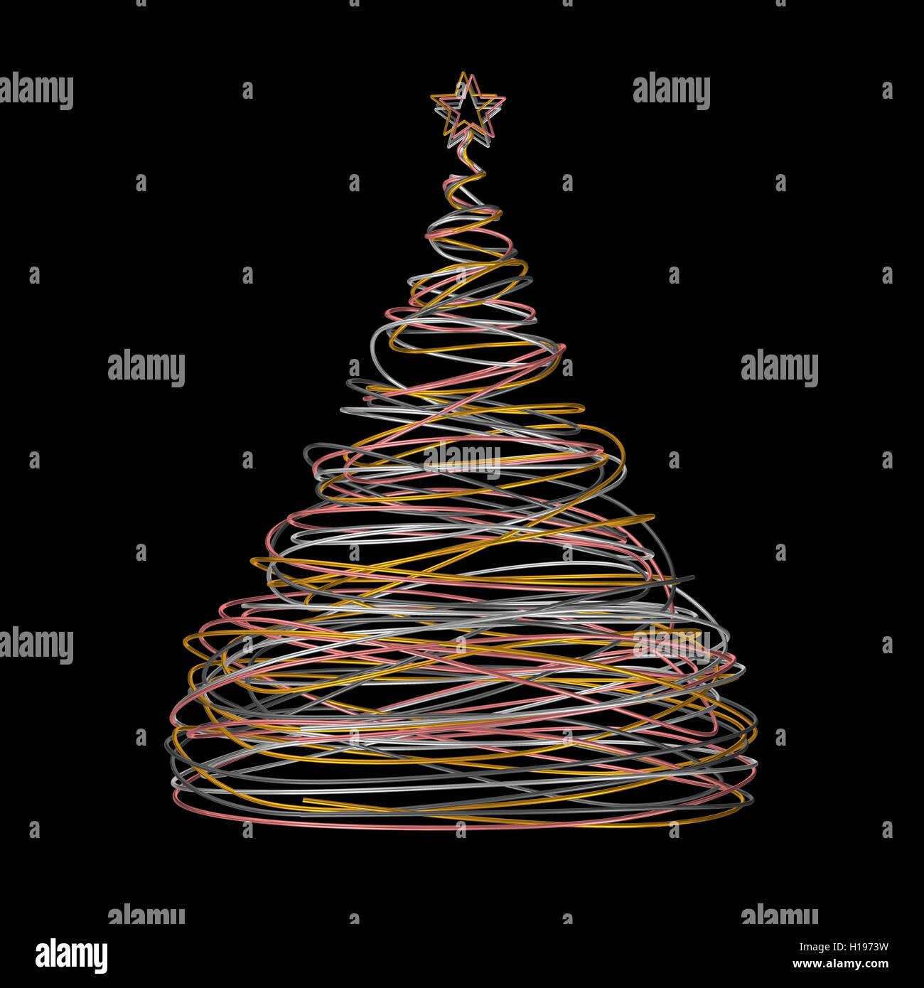 Weihnachtsbaum Draht weihnachtsbaum aus gold, weiß, grau und rosa draht auf schwarzen