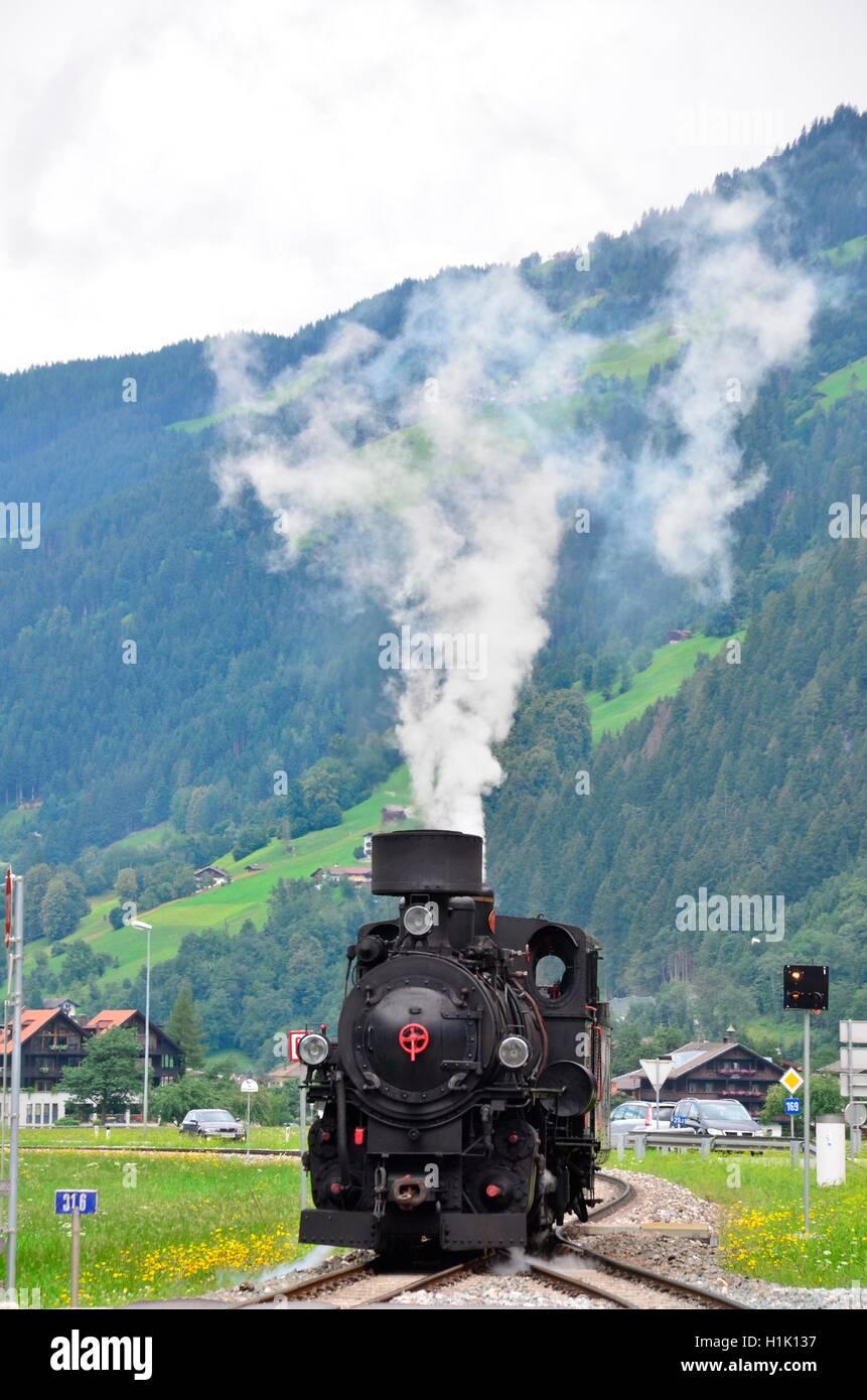 Nostalgie, Dampfzug, Zillertalbahn, Tirol, Oesterreich Stockbild