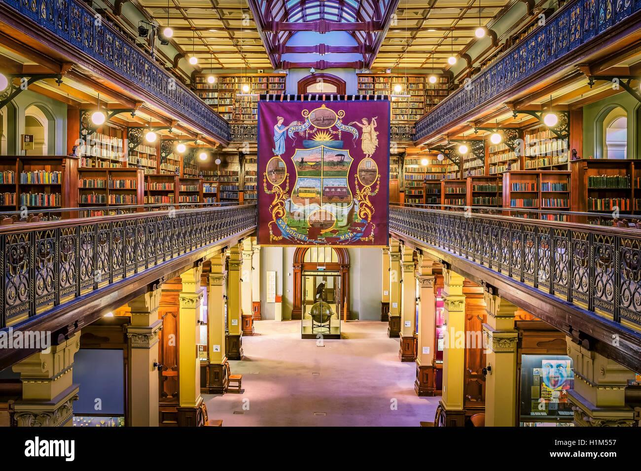 Das Innere der historischen Mortlock-Bibliothek, in der State LIbrary of South Australia, Adelaide. Stockfoto