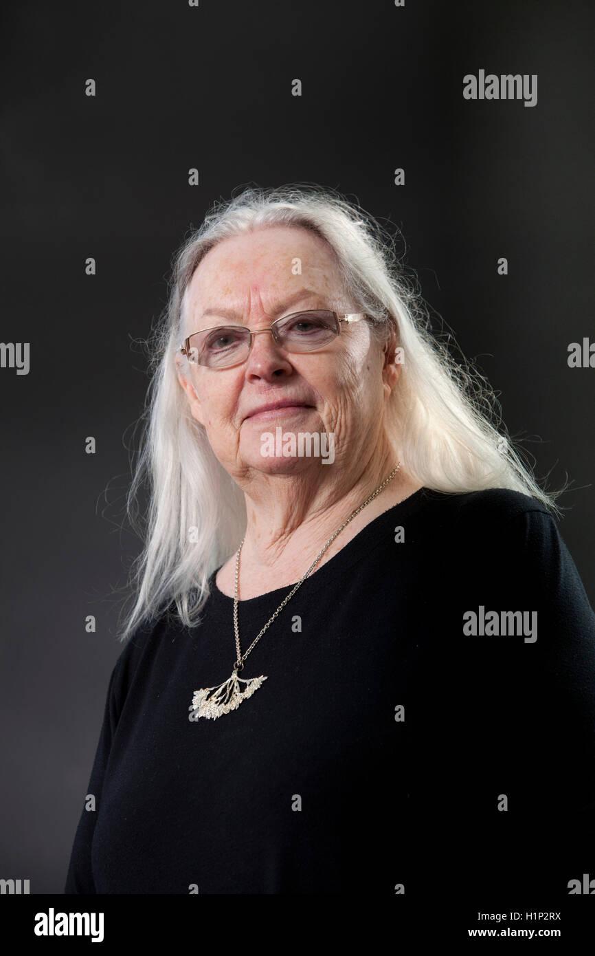 Gillian Clarke, den Waliser nationalen Dichter und Dramatiker, auf dem Edinburgh International Book Festival. Edinburgh, Stockbild