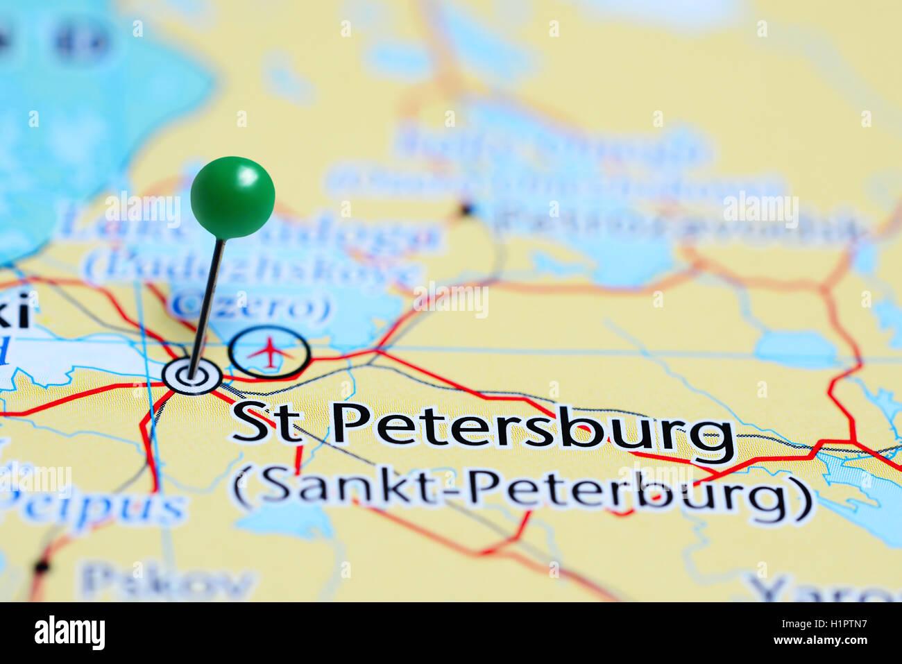 St Petersburg Fixiert Auf Einer Karte Von Russland