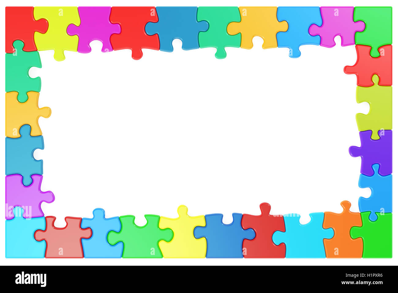 Rahmen aus farbigen Puzzle-Teile, 3D rendering Stockfoto, Bild ...